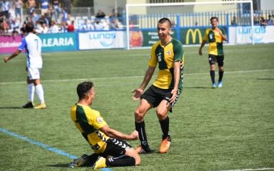 Pol Ballesteros celebra el seu primer gol com a arlequinat | Críspulo Díaz