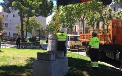 El bust de l'alcalde Marcet es va retirar el maig del 2017, però el nom de la plaça encara es manté/ Arxiu Ràdio Sabadell