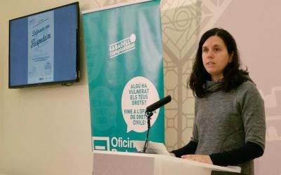 La regidora de Drets Civils i Gènere Míriam Ferràndiz a la roda de premsa de la presentació del programa | Ajuntament de Sabadell
