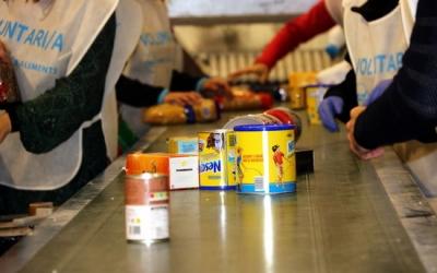 Imatge dels voluntaris recollint menjar | ACN