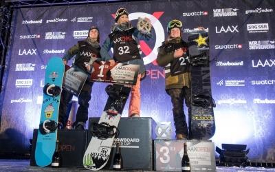 Castellet (esquerra) dalt del podi de Laax acompanyant Chloe Kim i Arielle Gold | Red Bull