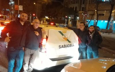 Els taxistes sabadellencs, durant les protestes a Madrid/ Cedida