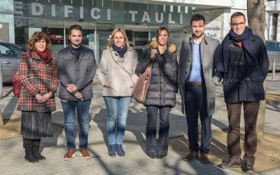 Alcaldesses i alcaldables socialistes del Vallès, juntament amb Marta Farrés i Pol Gibert a la roda de premsa d'avui | Roger Benet