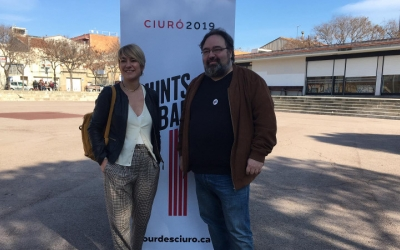 Lourdes Ciuró i Francesc Baró aquest matí a la plaça del Treball | Mireia Sans