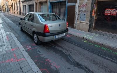 El carrer Sant Pere, a punt per l'inici de les obres, aquest matí/ Roger Benet