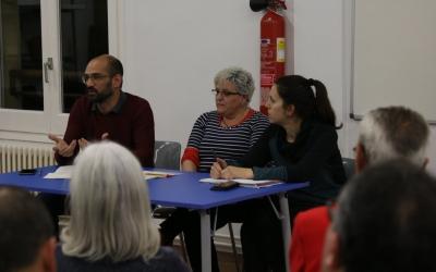 Serracant, Nani Valero (número 2) i Ferràndiz a la taula durant l'acte | La Crida per Sabadell