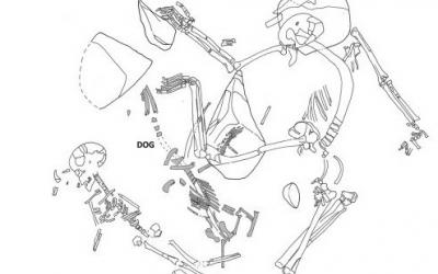 Enterrament d'huma i gos