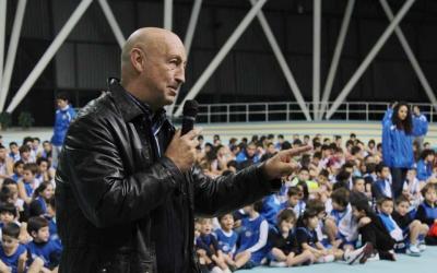 Campos en una imatge d'arxiu durant una presentació del Creu Alta Sabadell Bàsquet a la Pista Coberta | Facebook