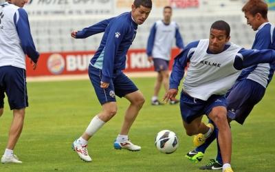 Hidalgo i Juve, en un entrenament de l'època de Segona | L'Esportiu