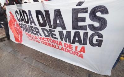 Pancarta de la manifestació de l'1 de Maig de l'any passat a Sabadell/ Arxiu Ràdio Sabadell