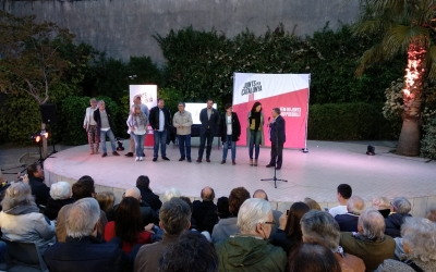 Moment en que tots els candidats del Vallès a l'alcaldia han pujat a l'escenari | Helena Molist
