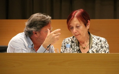 Enric Marín i Margarita Arboix avui durant la roda de premsa | ACN