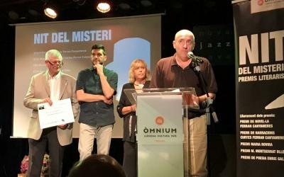Manel Aljama, durant l'entrega del premi/ Òmnium Cultura