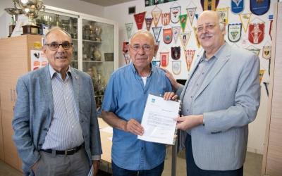 Martí Sala, Juan José Murillo i Josep Masip aquest migdia a les oficines del Municipal de Ca n'Oriac | Roger Benet