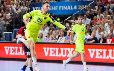 Aleix Gómez va marcar nou gols a la semifinal contra el Vardar. | @FCBhandbol