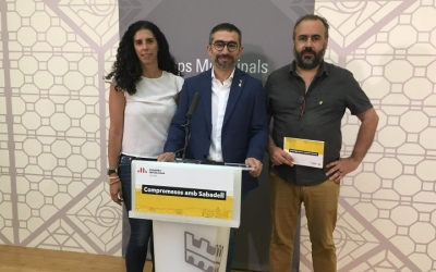 Èlia Soriano, Gabriel Fernández i Raul Garcia Barroso avui en roda de premsa | Mireia Sans