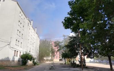 Edifici afectat per l'incendi d'aquest matí/ Cedida