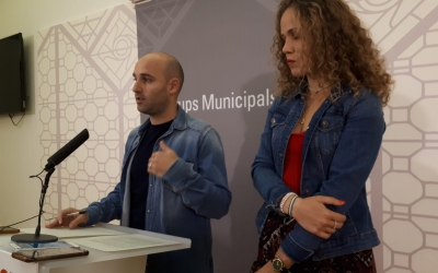 Adrián Hernández i Laura Casado, en roda de premsa