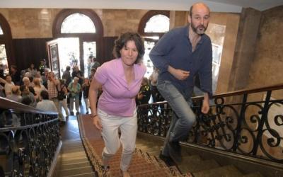 Morell i Cáceres a les escales de l'Ajuntament | Roger Benet