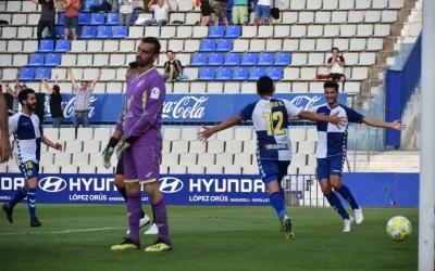Els jugadors del Sabadell celebren el gol d'Óscar Rubio | Críspulo Díaz