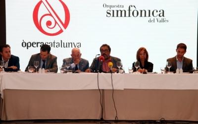Membres de l'AAOS i l'OSV en la roda de premsa de presentació de la temporada | ACN