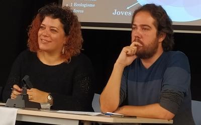 Cris Molins i Edu Navarro  a l'assamblea d'aquest matí   Sabadell En Comú