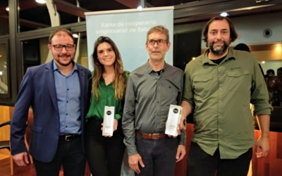 Arnau Bonada amb els tres guardonats de la nit | Helena Molist