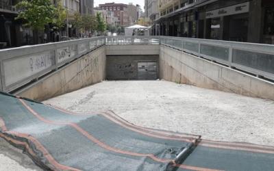 Imatge de l'accés a l'aparcament soterrat dels Ferrocarrils | Roger Benet