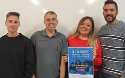 Els tres alumnes de l'Institut Castellarnau juntament amb Joan Aurés | Cedida