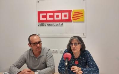 Enrique Rodríguez, secretari general de CCOO al Vallès Occidental i Dolors Llobet, secretària d'Atenció a l'Afliliació, Estudis i Coordinació de Direcció de CCOO de Catalunya   Ràdio Sabadell