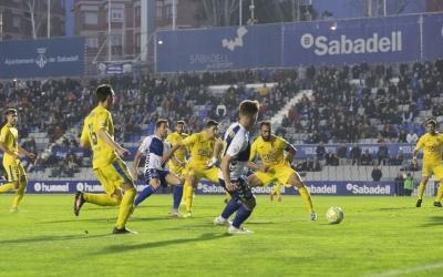Aarón Rey durant el Sabadell-Orihuela, l'últim partit a la Nova Creu Alta | Alex Canales