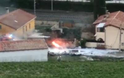 Imatge de l'accident de l'avioneta que havia sortit de l'Aeroport de Sabadell | Twitter
