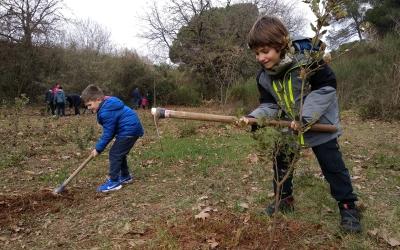 En Jan i en Martí plantant un arbre | Helena Molist