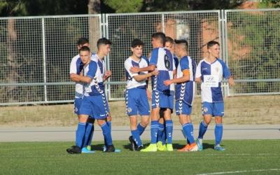 Celebració d'un gol del Juvenil 'A' del Sabadell en un partit d'aquesta temporada | Adrián Arroyo