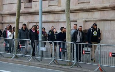 Els encausats arribant a la Ciutat de la Justícia/ ACN