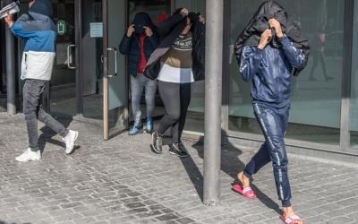 Alguns dels detinguts a la sortida dels jutjats, el 21 de març de 2019 | Roger Benet