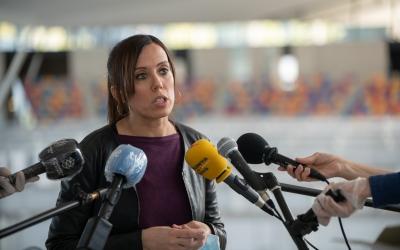 Marta Farrés durant una roda de premsa | Roger Benet