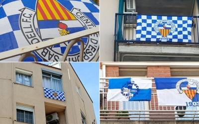 Els aficionats arlequinats ja han començat a penjar les primeres banderes als balcons | @diegosabadell