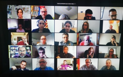 La reunió telemàtica entre alcaldes i alcaldesses i representants de la Generalitat | Cedida