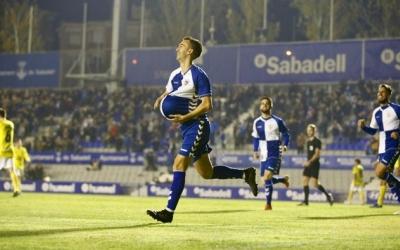Imatge del gol amb dedicatòria de 'Lanza' contra l'Ejea | Arxiu RS