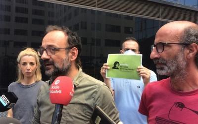 Maria Argudo, Benet Salellas i Joan Jubany en roda de premsa aquest migdia | Helena Molist