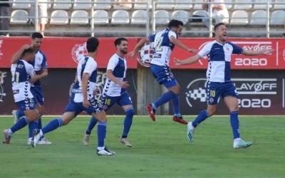 Els jugadors arlequinats celebren el gol d'Édgar contra l'Atlético 'B' | Cedida