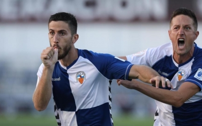 Aleix i Édgar, celebrant el gol contra el Barça 'B' | CE Sabadell