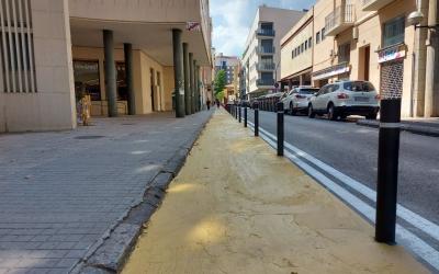 Imatge del carril creat al carrer Tres Creus/ Karen Madrid