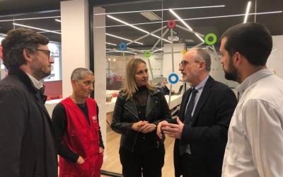 Josep Monràs (el segon per la dreta) durant una visita a la Diputació de Barcelona | Cedida