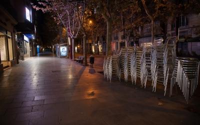 La Rambla de Sabadell, durant el toc de queda/ Roger Benet