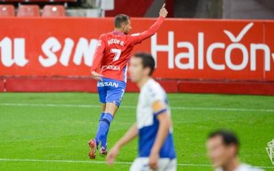 Aitor Garcia celebra el primer gol del partit | Real Sporting