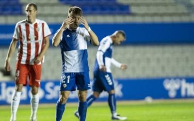 Aarón Rey, lamentant-se d'una ocasió fallada en el xoc d'ahir | CE Sabadell