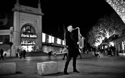 David Merino, davant del Mercat Central | Cedida