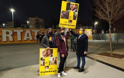 Palau, Belmonte i Fernández amb un cartell de campanya   Cedida